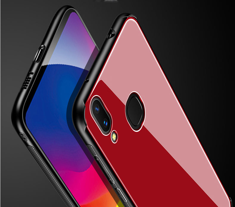 Toughened Glass Back Shock Proof Slim Case Cover for Vivo V9 / V9 Youth - Red - Mobizang