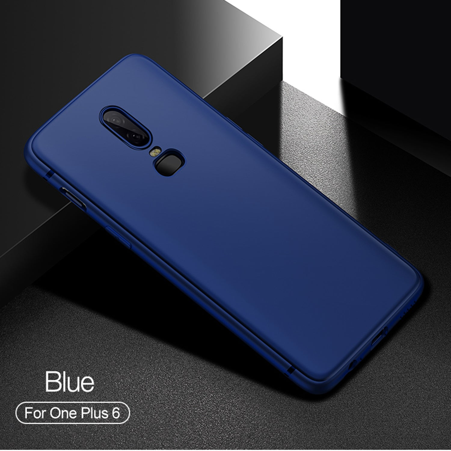 Colored Matte Flexible Ultra Thin Protective Back Case Cover for Oneplus 6 - Blue - Mobizang