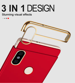 3 in 1 Chrome Hybrid Protective Back Case Cover for Xiaomi Redmi Note 5 PRO - Red - Mobizang