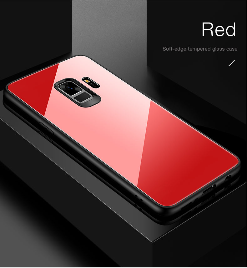 Toughened Glass Back Shock Proof Slim Case Cover for Samsung Galaxy S9 - Mobizang