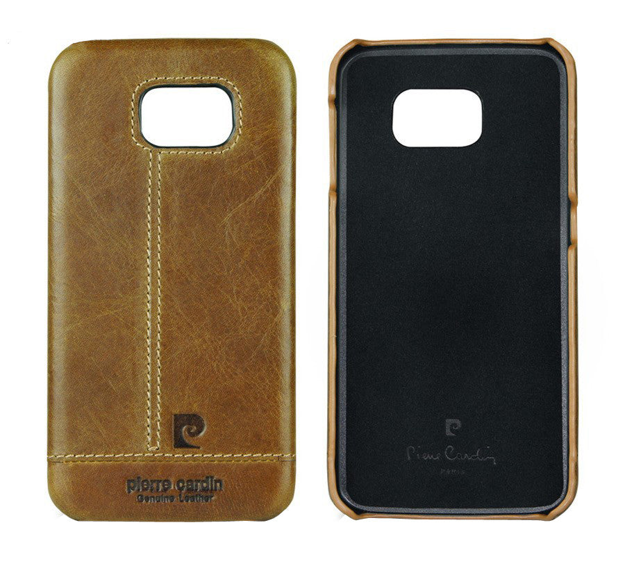 Pierre Cardin Luxury Leather Back Case Cover for Samsung Galaxy S6 - Brown - Mobizang