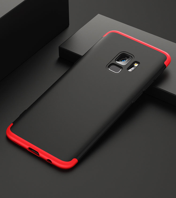 3 in 1 - 360° Full Protection Body Case Cover for Samsung Galaxy S9 - Red , Black - Mobizang