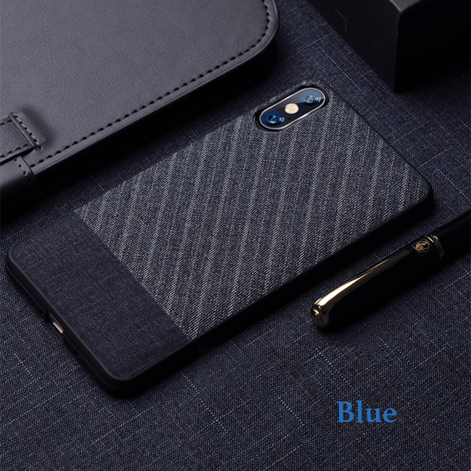 Suit Fabric Hybrid Protective Case Cover for Apple iPhone X / XS - Mobizang