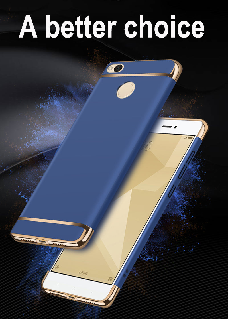 3 in 1 Chrome Finish 360° Hybrid body Protective Case Cover for Xiaomi Redmi 4 - Blue - Mobizang