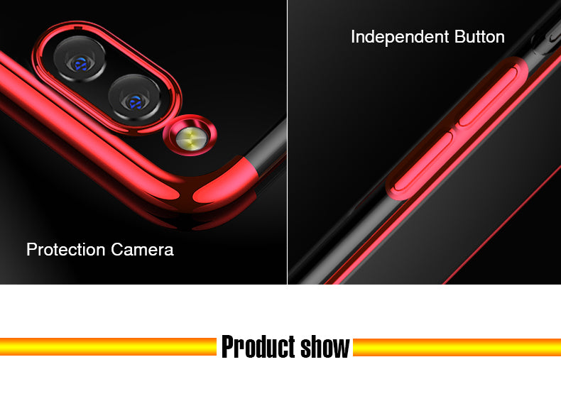 Chrome Plated Transparent Flexible Protective Case Cover for Huawei Honor 7X - Red - Mobizang