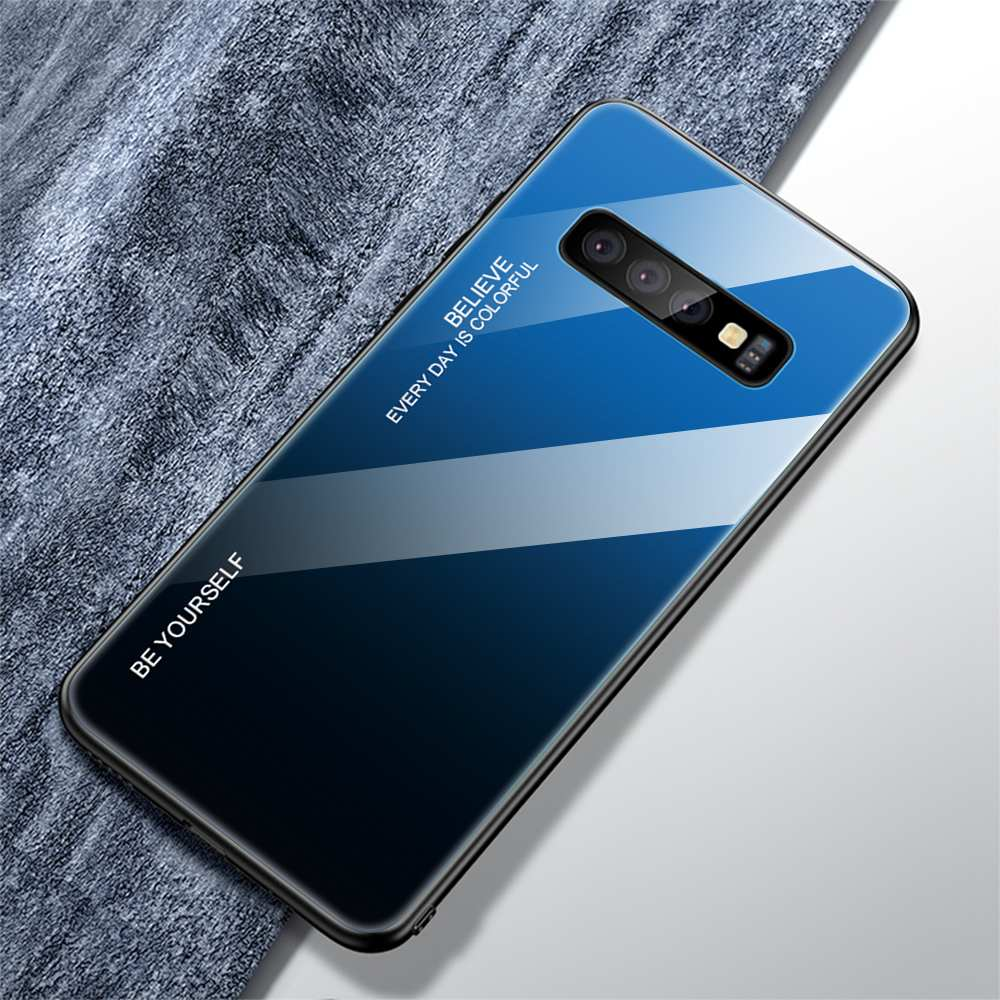Gradient Dual Shade Glass Shock Proof Back Case Cover for Samsung Galaxy S10 Plus - Mobizang
