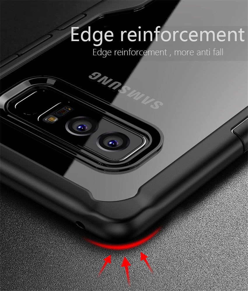Shock Proof Armor Acrylic Transparent Back Case Cover for Samsung Galaxy Note 8 - Black - Mobizang