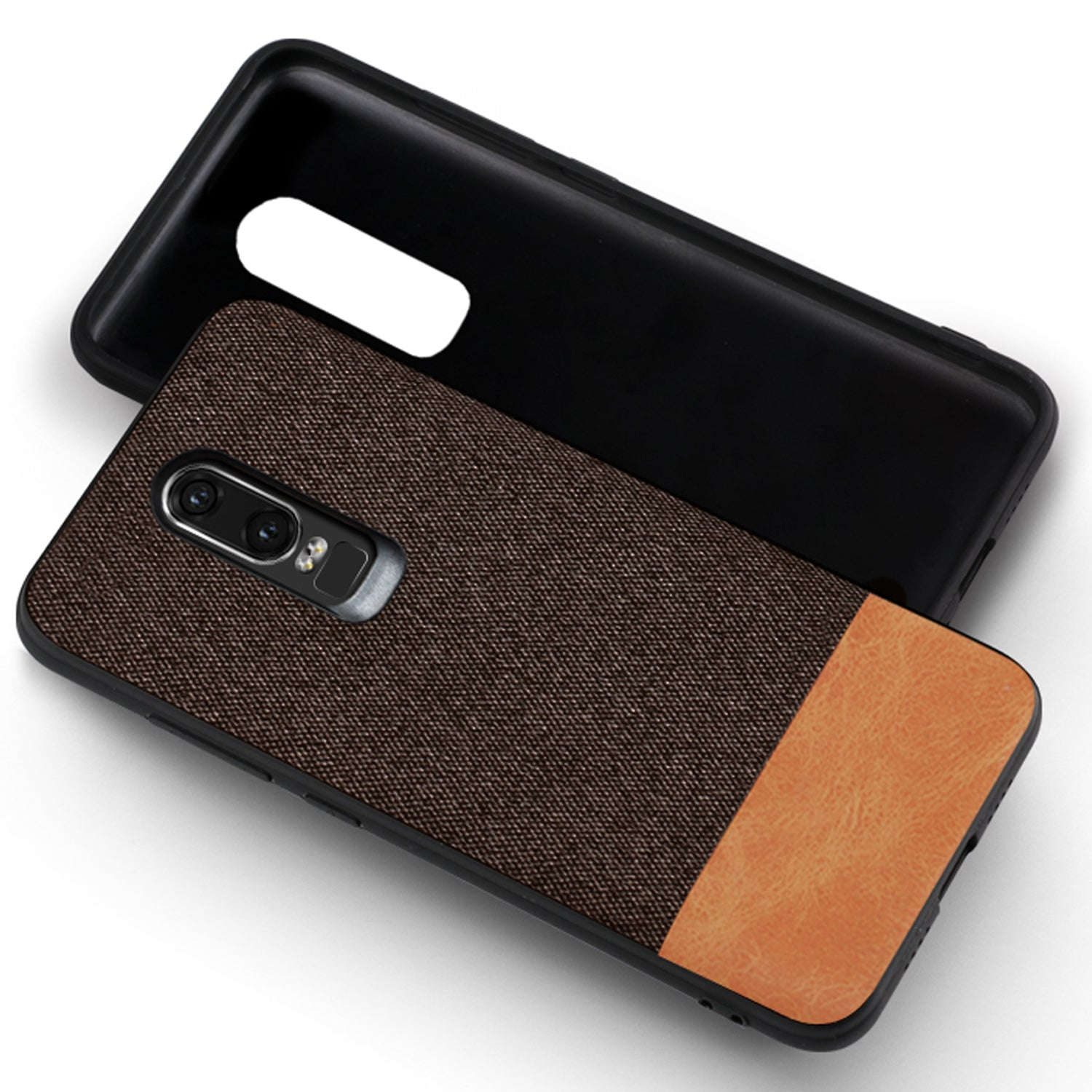 Fabric + Leather Hybrid Protective Case Cover for Oneplus 6 - Brown - Mobizang