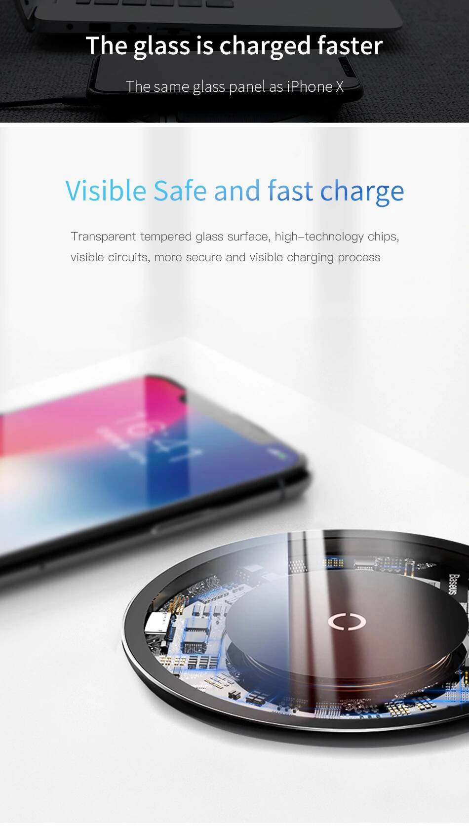 Baseus UFO Style 10W Ultra-slim Transparent Glass Wireless Charger Pad Station Compatible with iPhone Xs MAX/XR/XS/X/8/8 Plus,10W Compatible Galaxy Note 9/S9/S9 Plus/Note 8/S8,5W All Qi-Enabled Phone - Mobizang