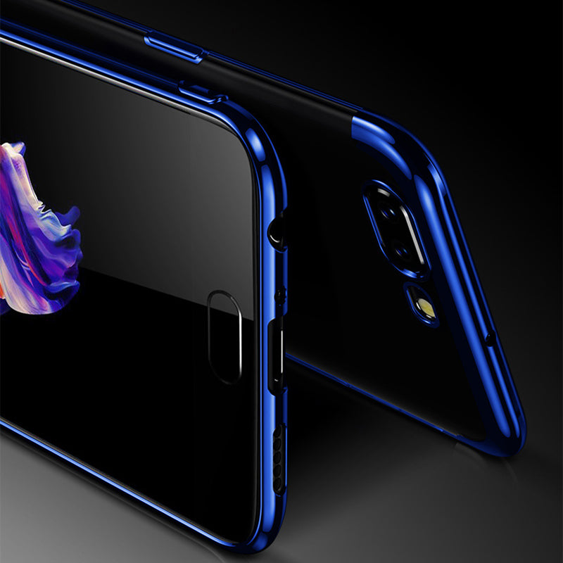 Chrome Plated Transparent Flexible Protective Case Cover for Oneplus 5T - Blue - Mobizang