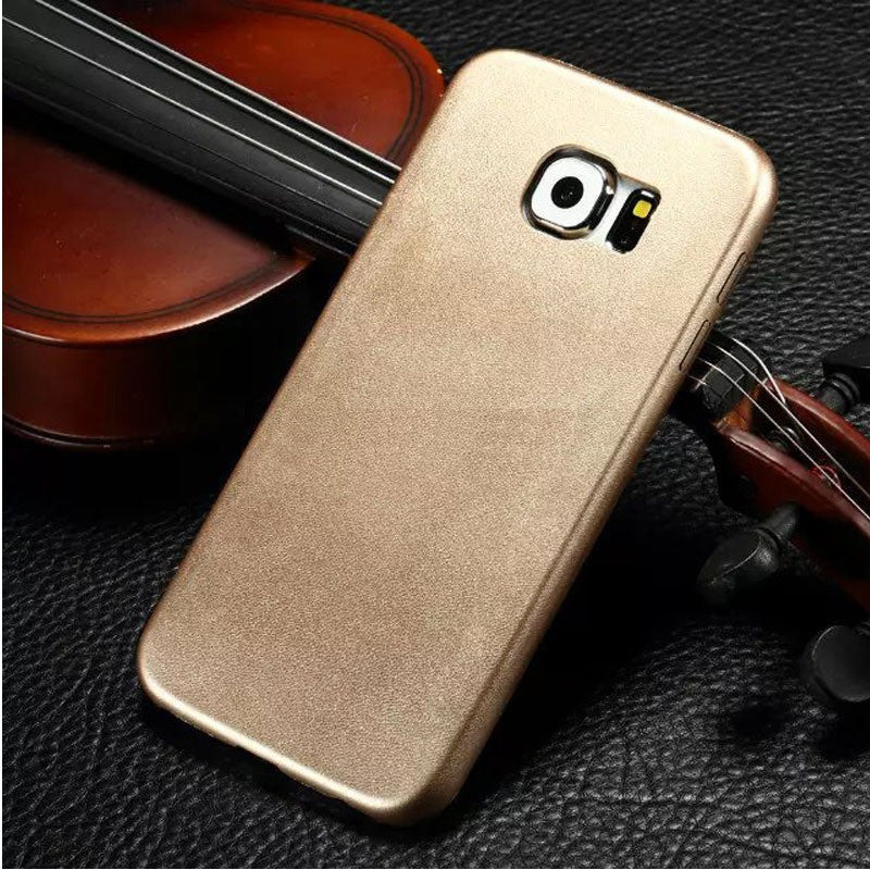 Kapa 1mm Ultra Thin Leather Finish Soft Back Case Cover for Samsung Galaxy S6 Edge - Gold - Mobizang