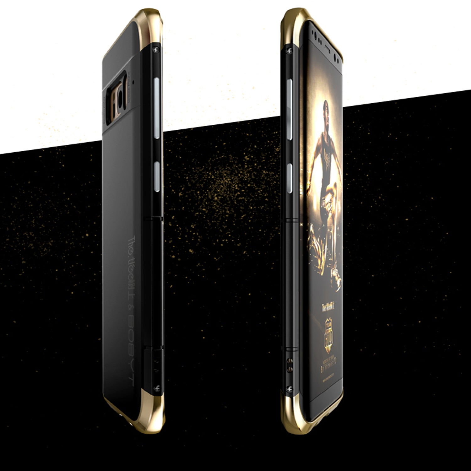 Aluminium Metal Frame PC Hard Back Shock Proof Case Cover for Samsung Galaxy S8 - Black, Gold - Mobizang