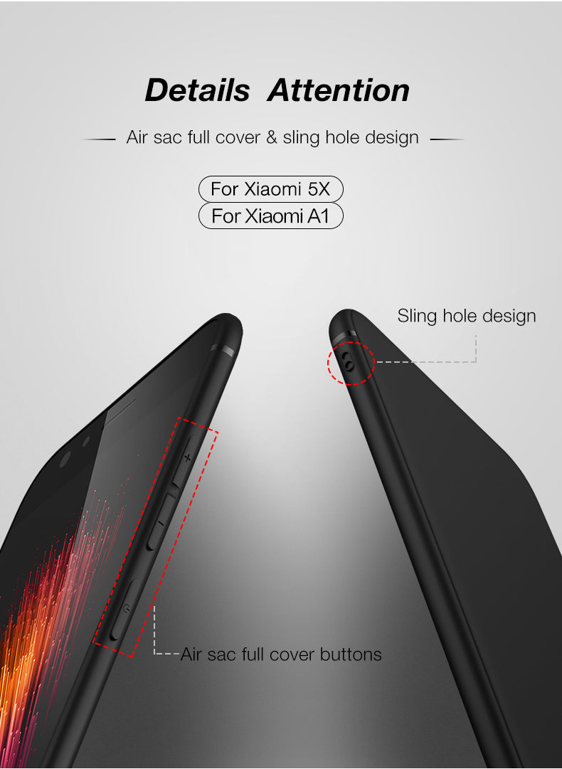 Matte Flexible Full Coverage Back Case Cover for Xiaomi Mi A1 - Black - Mobizang