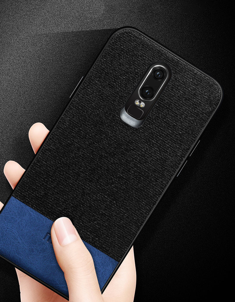 Fabric + Leather Hybrid Protective Case Cover for Oneplus 6 -  Black , Blue - Mobizang