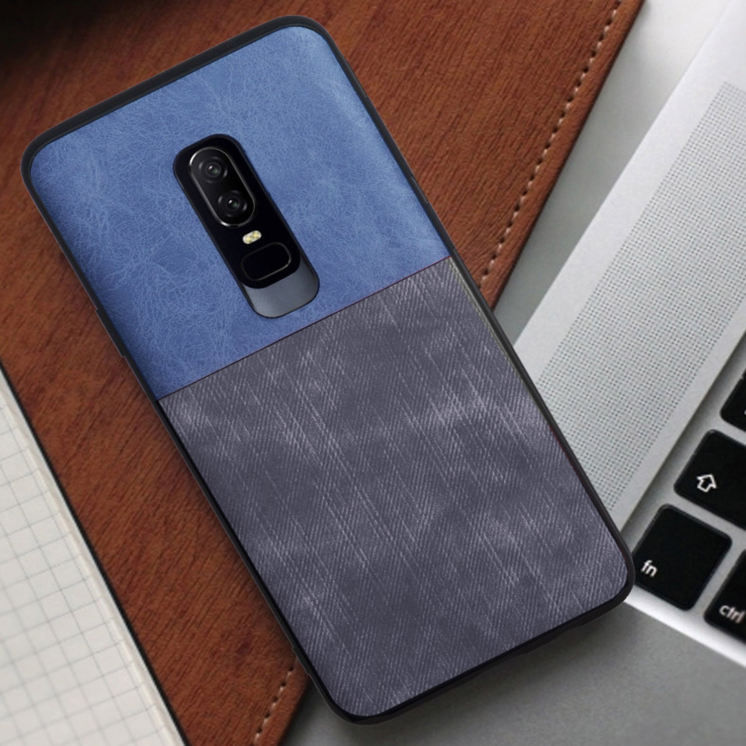 Soft Denim & Leather Hybrid Protective Back Case Cover for OnePlus 6/One Plus 6 - Blue / Grey - Mobizang