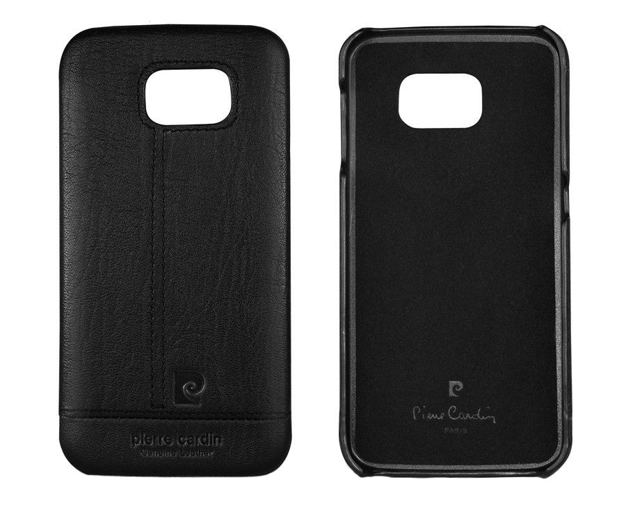 Pierre Cardin Luxury Leather Back Case Cover for Samsung Galaxy S6 - Black - Mobizang