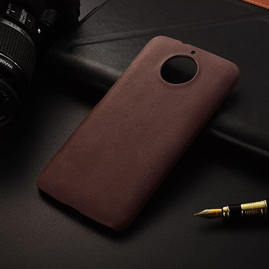 premium selection ddc3f 21651 Vintage Genuine Leather Hard Back Case Cover for Moto G5S PLUS - Coffee  Brrown