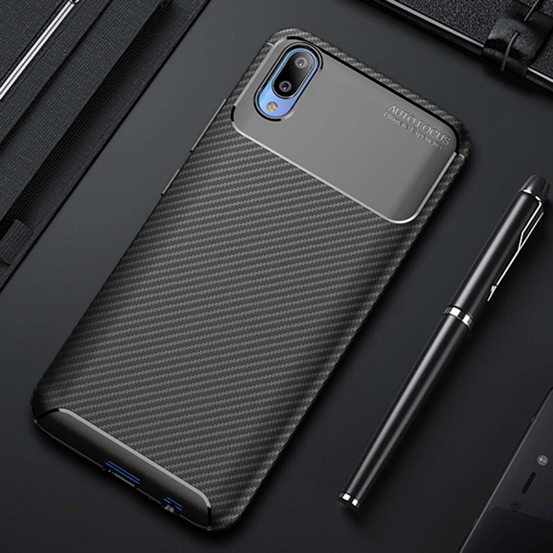 Synthetic Carbon Fibre Finish Shock Proof Flexible Back Case Cover for Vivo V11 PRO - Mobizang