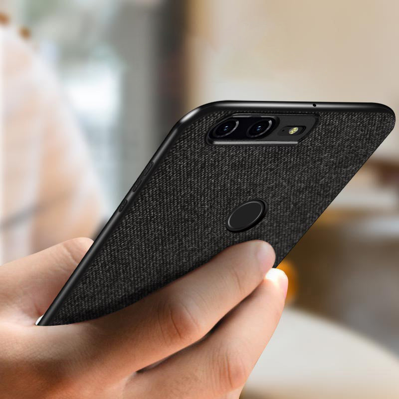 Fabric Hybrid Protective Case Cover for Oneplus 5T -  Black - Mobizang
