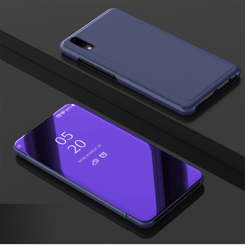 Semi Transparent Mirror View Clear Flip Luxury Case Cover for Vivo V11 Pro - Mobizang