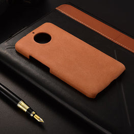 Vintage Genuine Leather Hard Back Case Cover for Moto G5S PLUS - Khaki - Mobizang