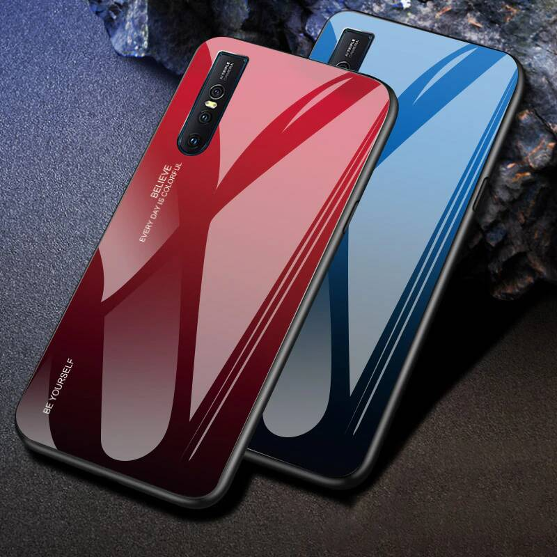 Gradient Dual Shade Glass Back Shock Proof Case Cover for Vivo V15 PRO - Mobizang