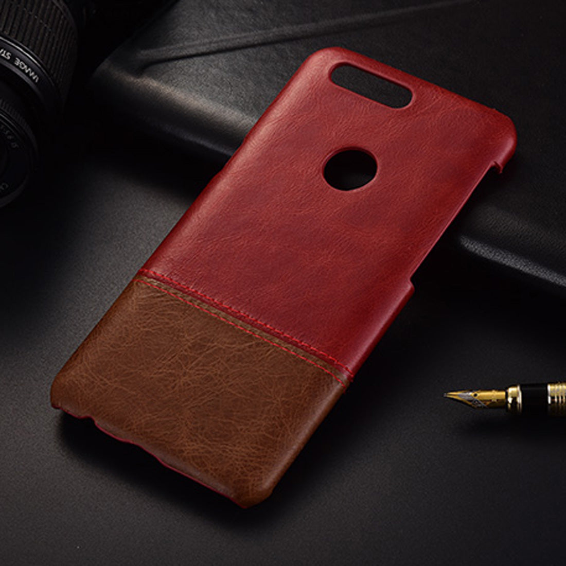 Genuine Leather Dual Color Premium Protective Case Cover for Oneplus 5T - Wine Red , Brown - Mobizang