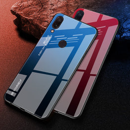 Gradient Dual Shade Glass Back Shock Proof Case Cover for Redmi Note 7 PRO / Note 7 - Mobizang