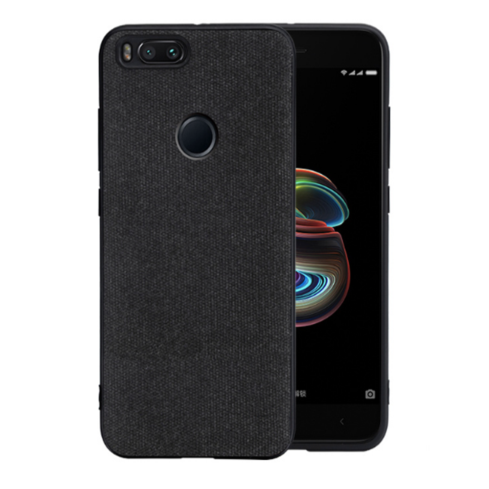 Fabric Hybrid Protective Case Cover for Xiaomi Mi A1 - Black - Mobizang