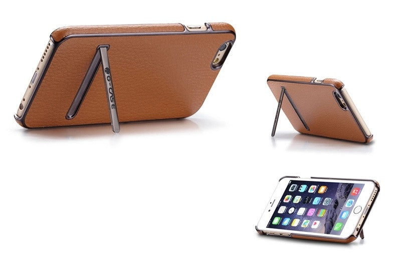 G CASE Luxury Leather Back Case Cover With Metal Stand for Apple iPhone 6 - Brown - Mobizang