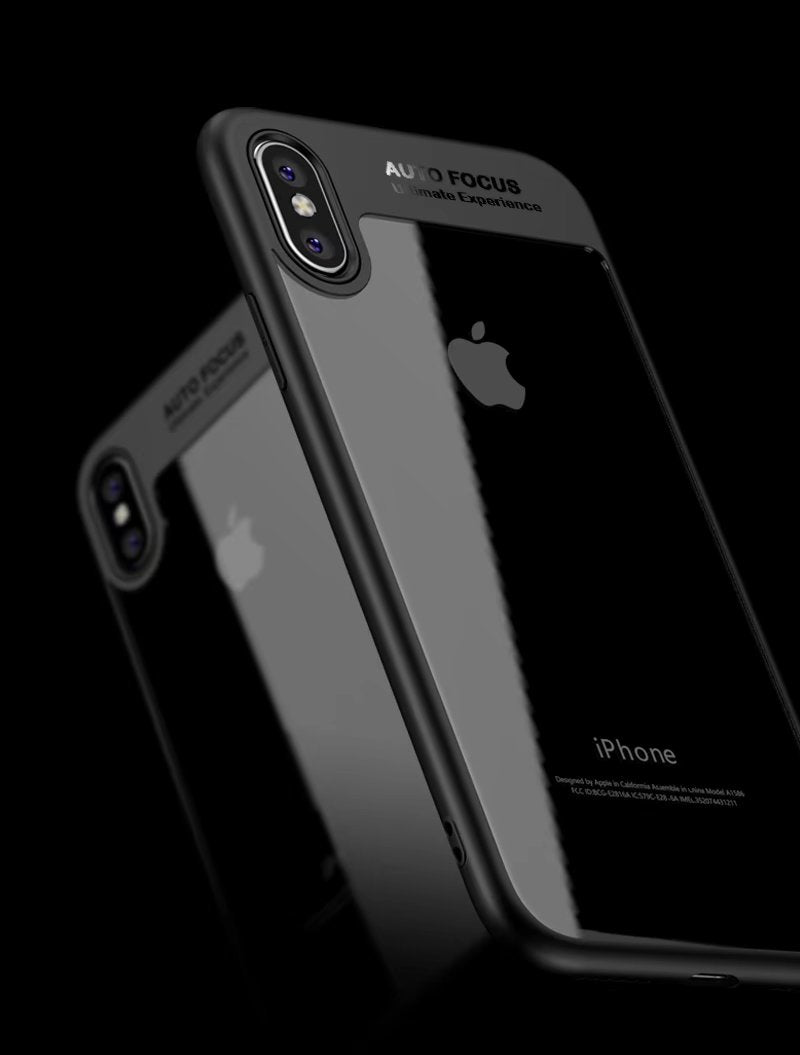 Clear Back Complete Lens Protector Case Cover for Apple iPhone X - Black - Mobizang