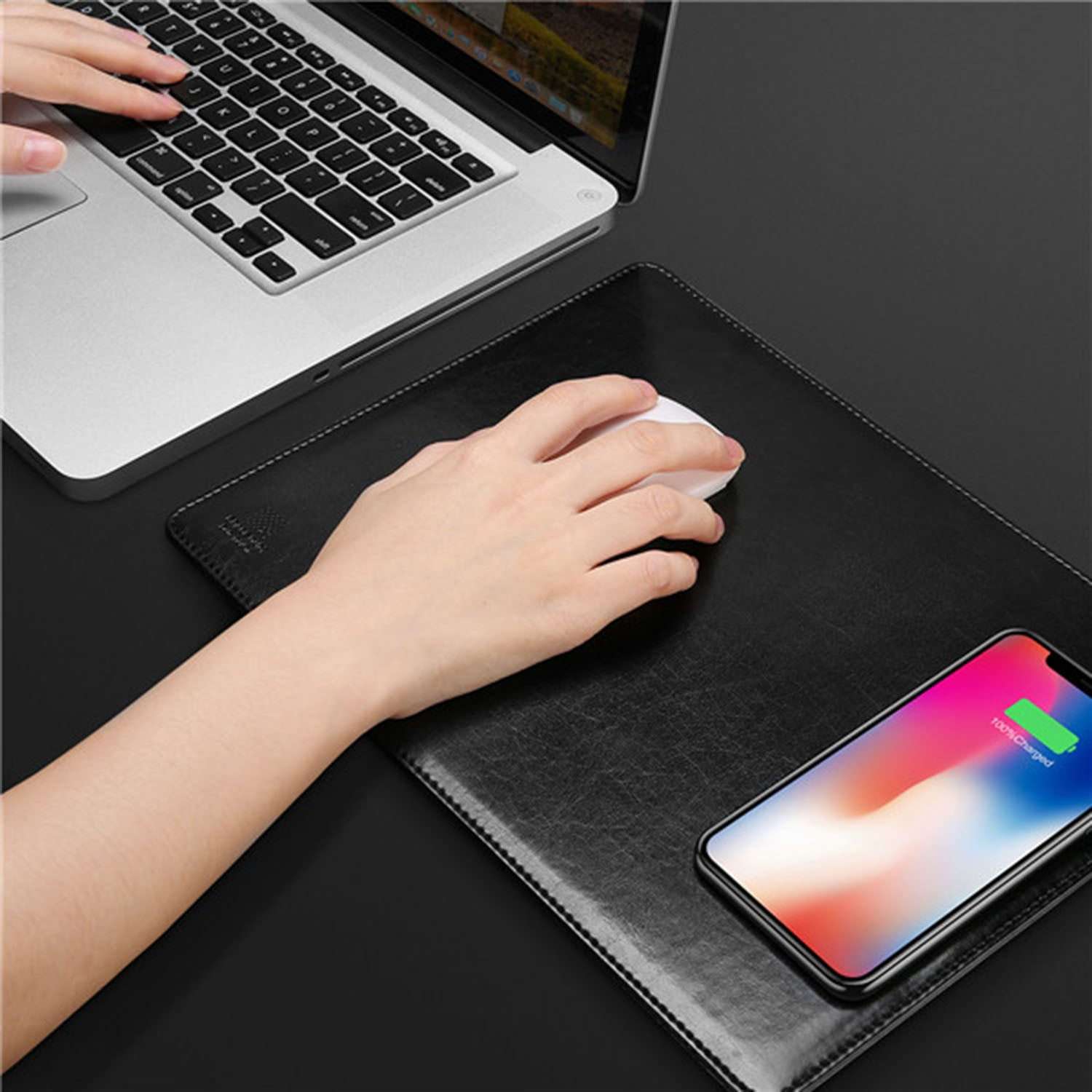 2 in 1 Leather Wireless Charger + Mouse Pad With Turbo Fast Charge Technology - Mobizang