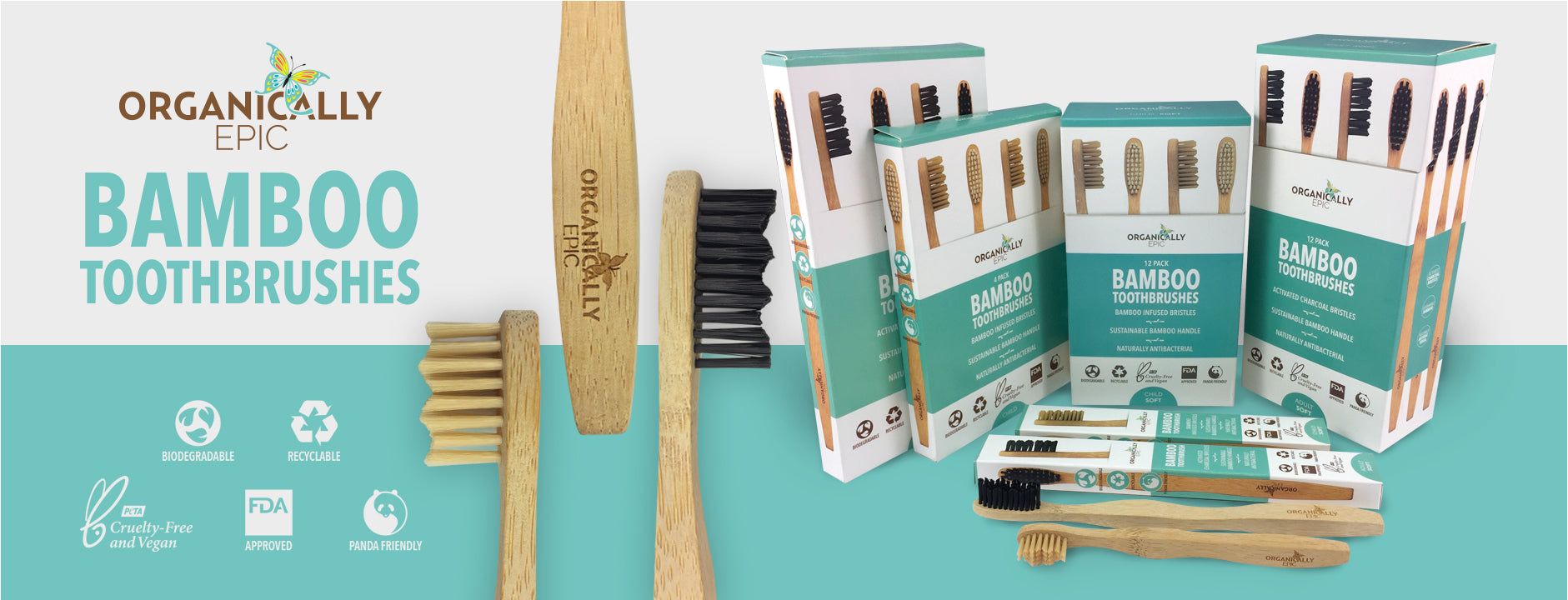 Charcoal infused eco friendly bamboo toothbrushes