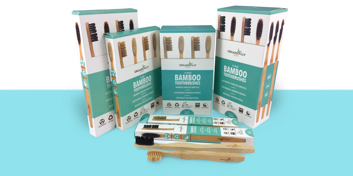 Orgaically Epic Diodegradable bamboo toothbrush range