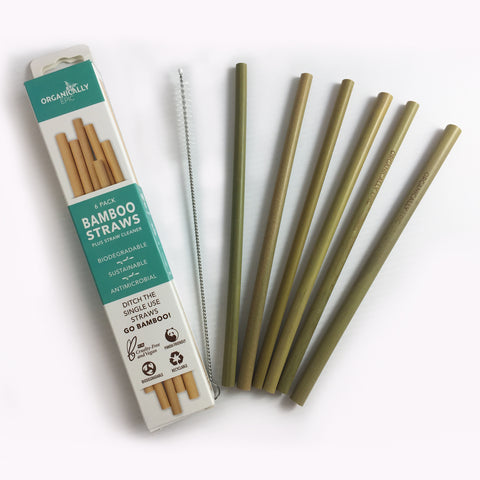 BRAND NEW Reusable Bamboo Straws x6