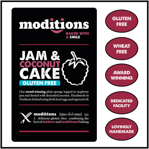 Moditions Gluten Free Jam & Coconut Cake