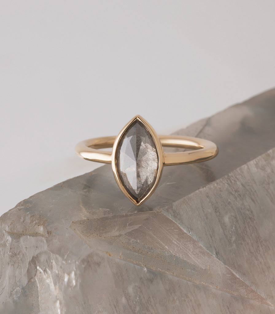 Atoll Ring - Grey Marquise Rosecut Diamond