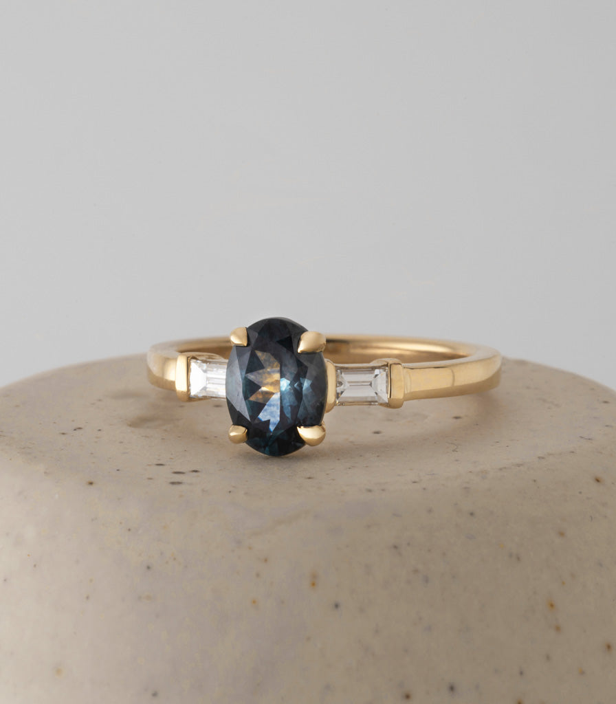 Baguette Ring - Montana Oval Sapphire