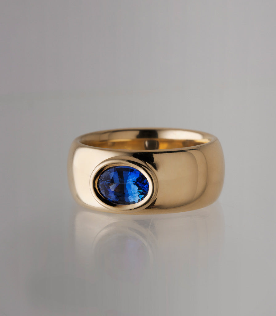 Big Buoy Ring - Blue Oval Sapphire