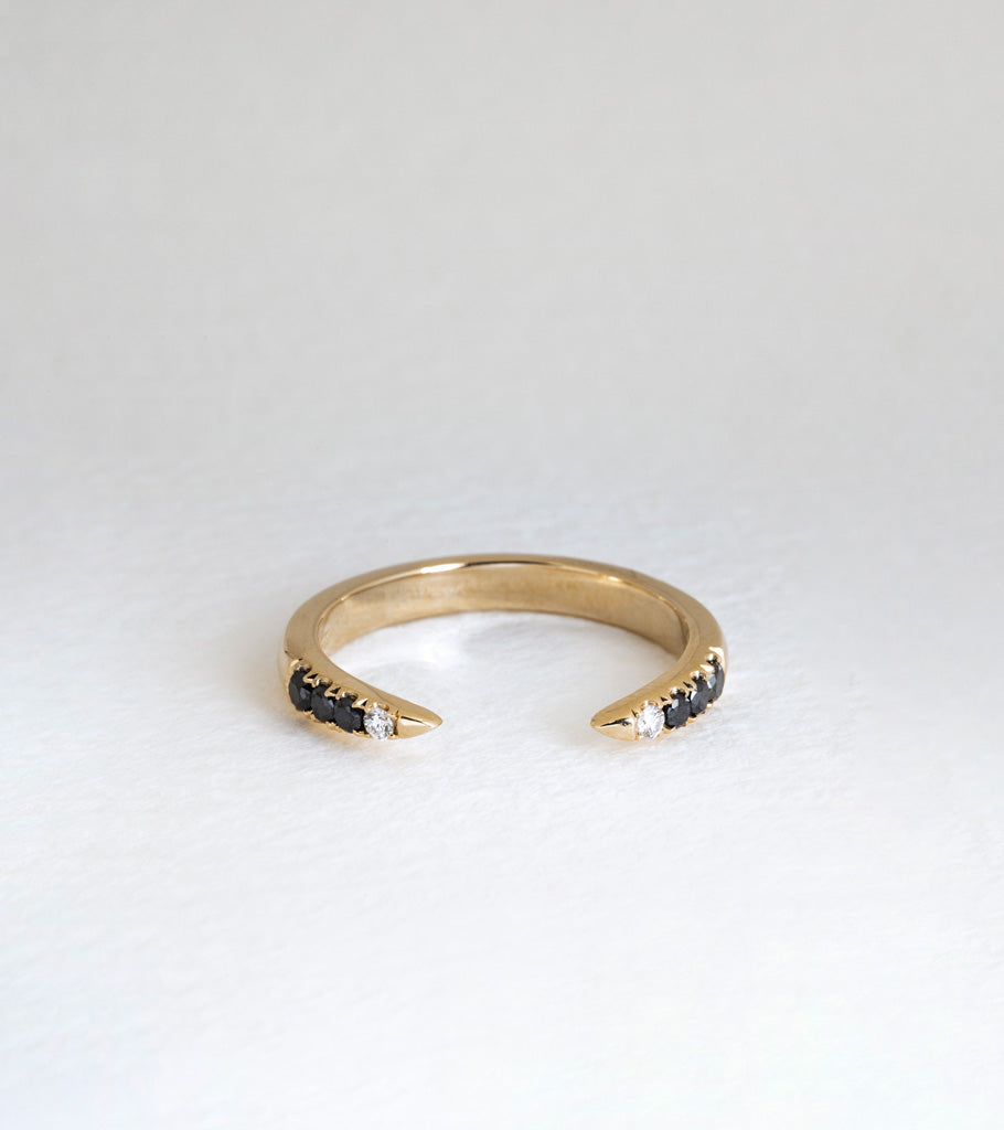 Diamond Torc Ring - Black