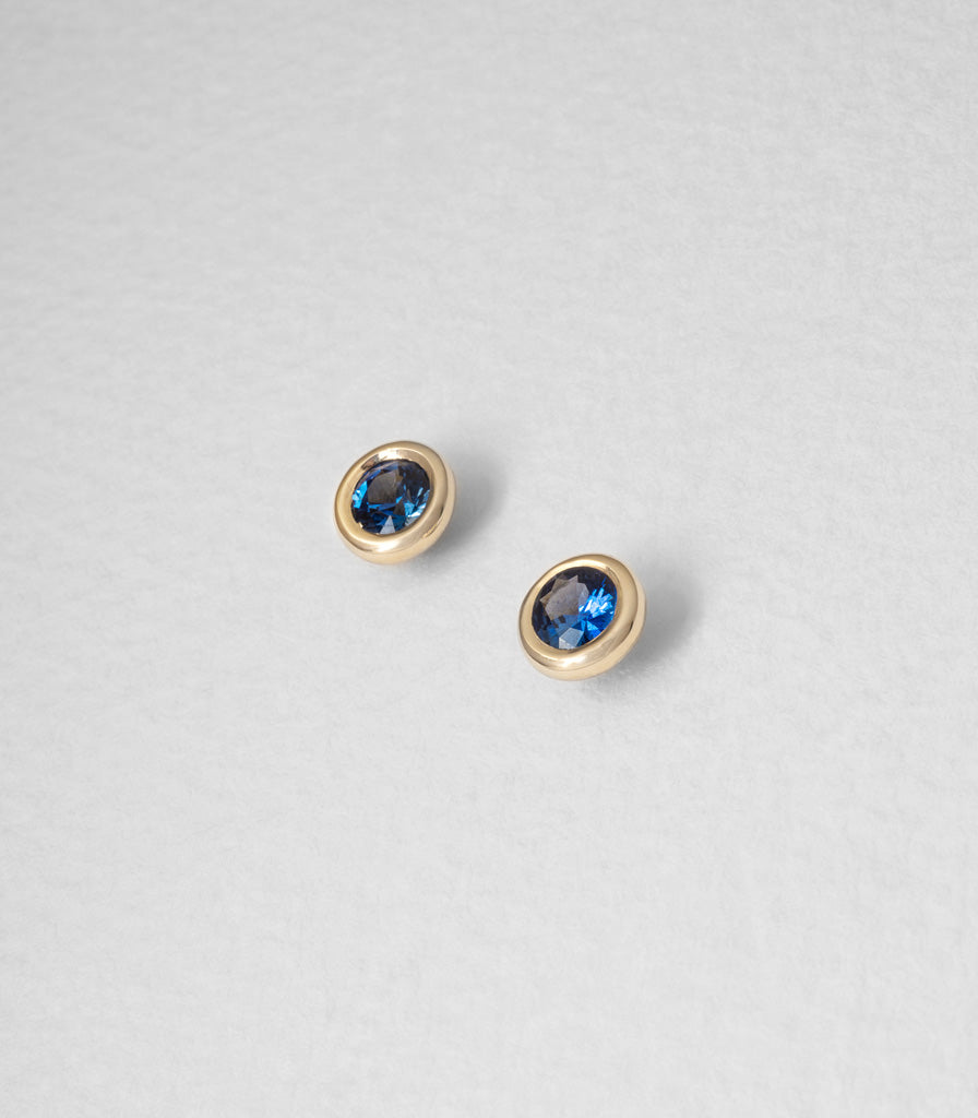 Buoy Studs - Blue Sapphires