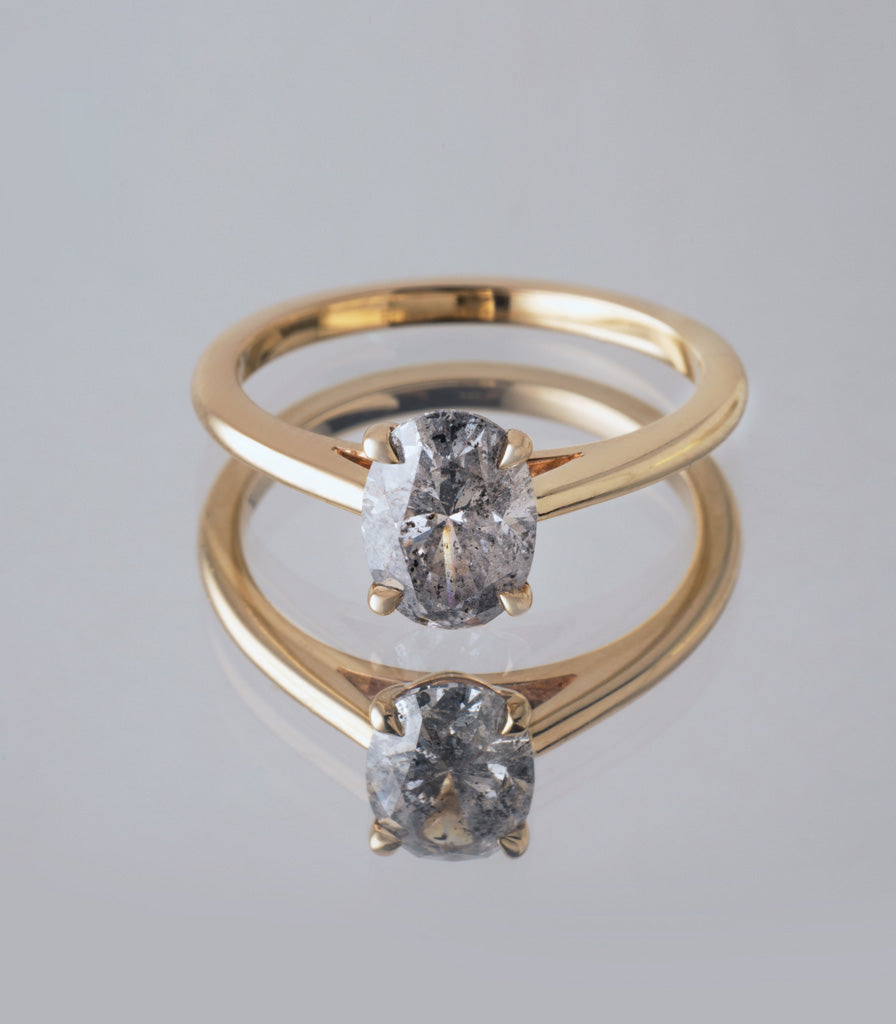 Freya Ring - Salt + Pepper Oval Diamond