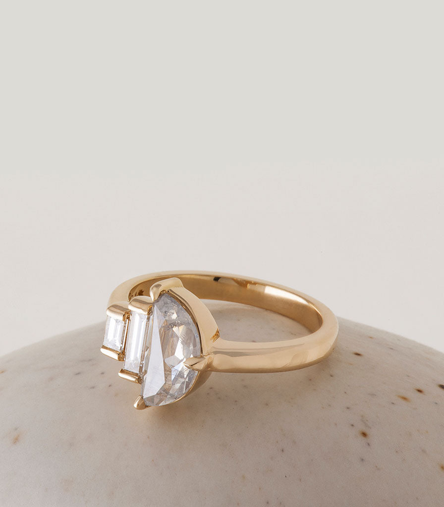 Demi Ring - Grey Half Moon Rosecut Diamond