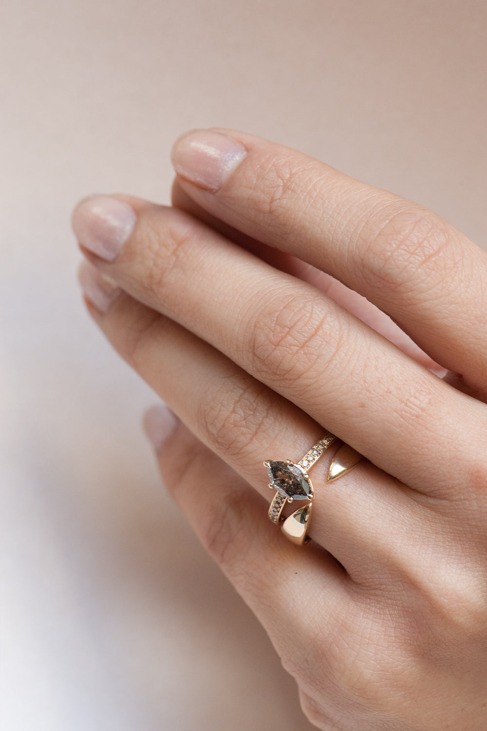 Eon Ring - Salt + Pepper Marquise Diamond