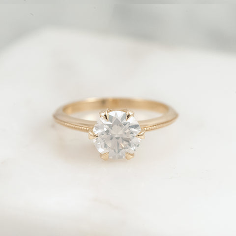 Six Claw Milgrain Ring - White Diamond
