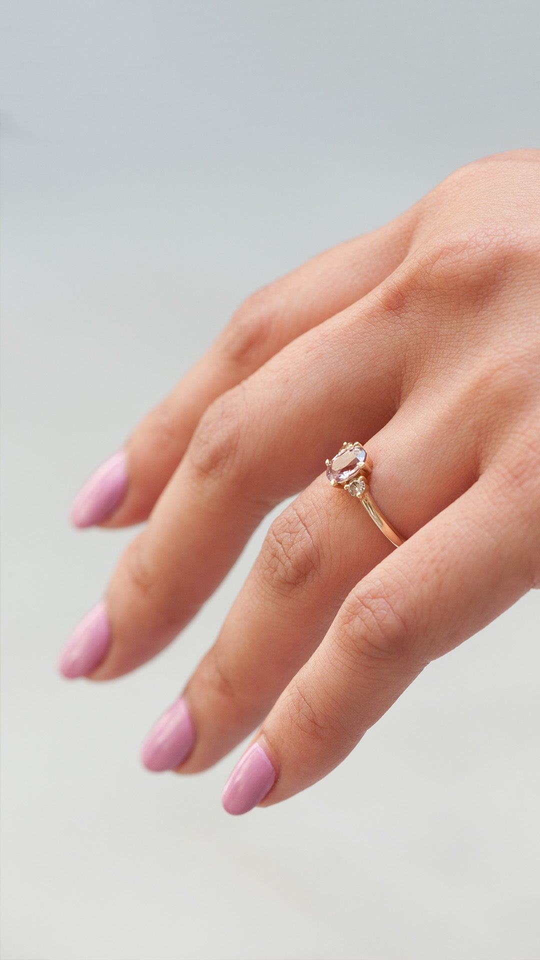 Three Stone Ring - Pink Sapphire + Champagne diamonds