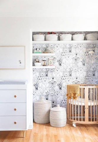 Or wallpaper the inside of the room's closet and take the doors off! Extra space and a whole new look.
