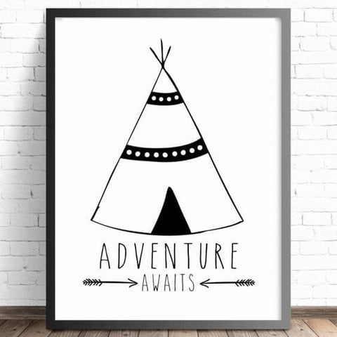 kids teepee wall art for bear themed nursery