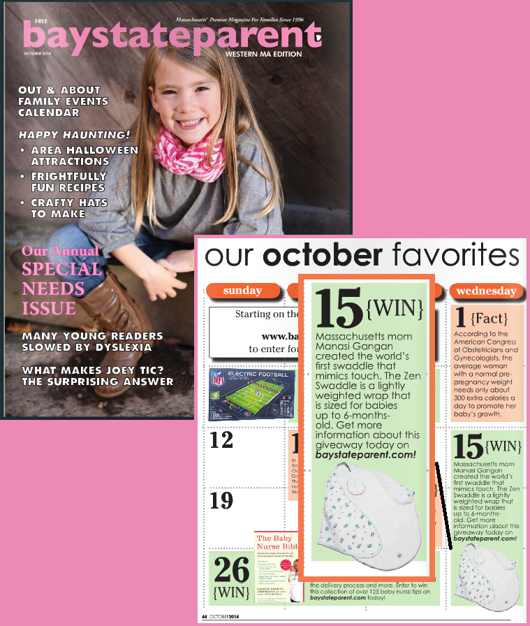 Bay State Parent Magazine Featuring the Zen Swaddle