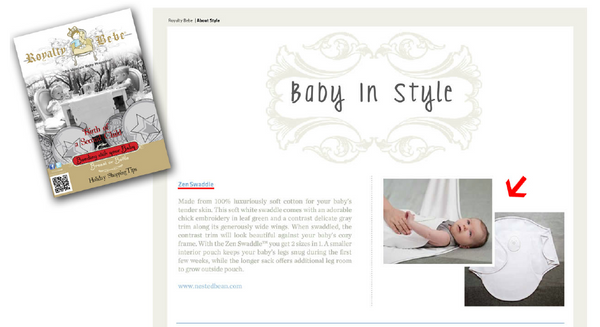 Zen Swaddle Featured in Royalty Bebe Magazine